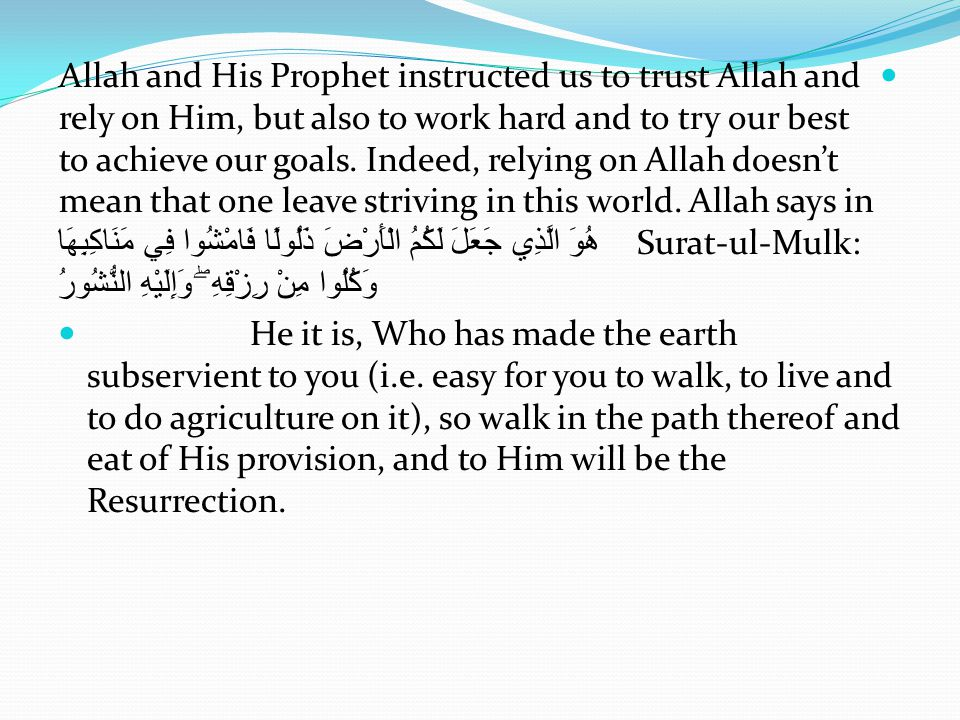 Allah and His Prophet instructed us to trust Allah and rely on Him, but also to work hard and to try our best to achieve our goals. Indeed, relying on Allah doesn't mean that one leave striving in this world. Allah says in Surat-ul-Mulk: هُوَ الَّذِي جَعَلَ لَكُمُ الْأَرْضَ ذَلُولًا فَامْشُوا فِي مَنَاكِبِهَا وَكُلُوا مِنْ رِزْقِهِ ۖ وَإِلَيْهِ النُّشُورُ