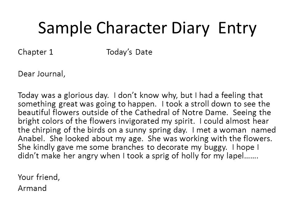 Sample Character Diary Entry