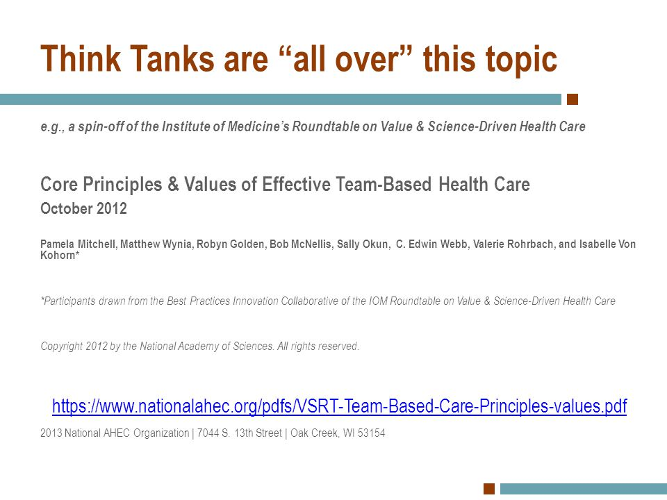 Think Tanks are all over this topic