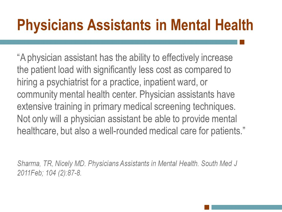 Physicians Assistants in Mental Health