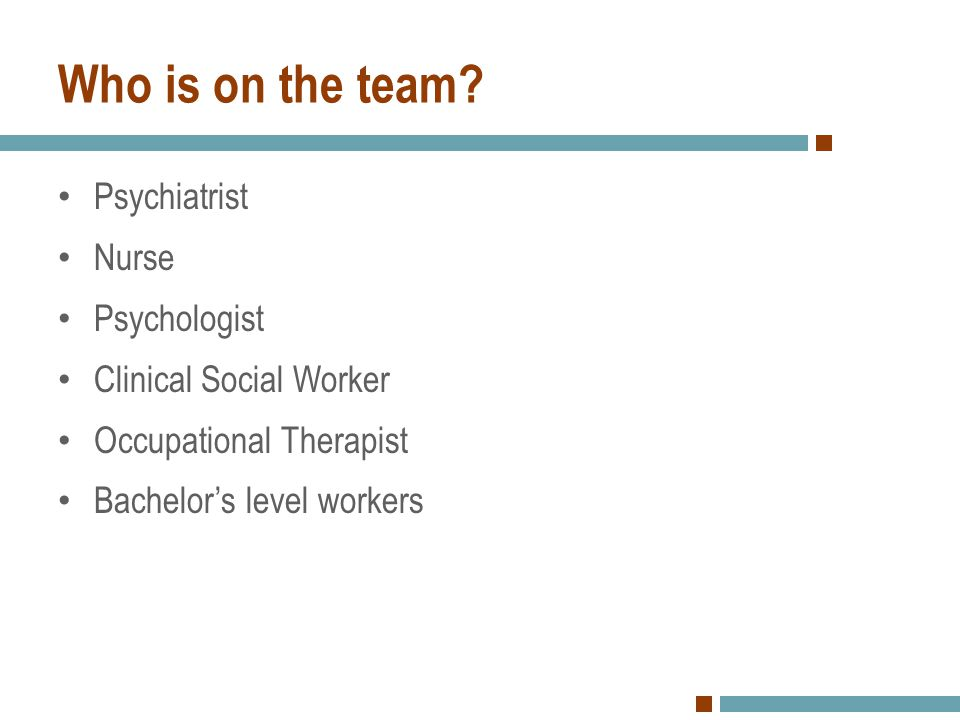 Who is on the team Psychiatrist Nurse Psychologist