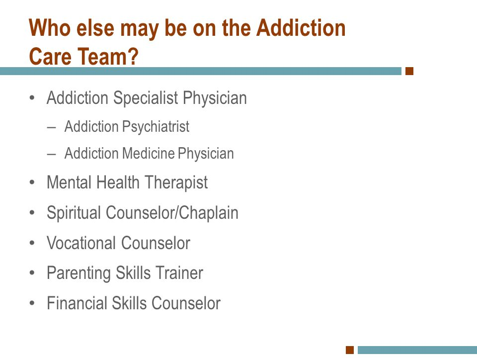 Who else may be on the Addiction Care Team