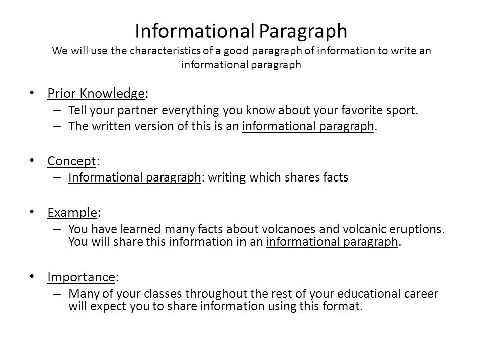 characteristics of good paragraph A paragraph is a group of sentences that fleshes out a single idea in order for a  paragraph to be effective, it must begin with a topic sentence, have sentences.