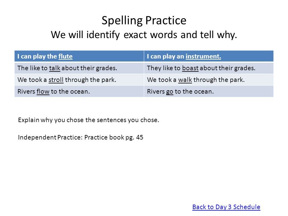 Spelling Practice We will identify exact words and tell why.