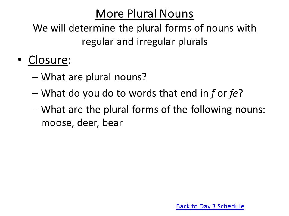 More Plural Nouns We will determine the plural forms of nouns with regular and irregular plurals