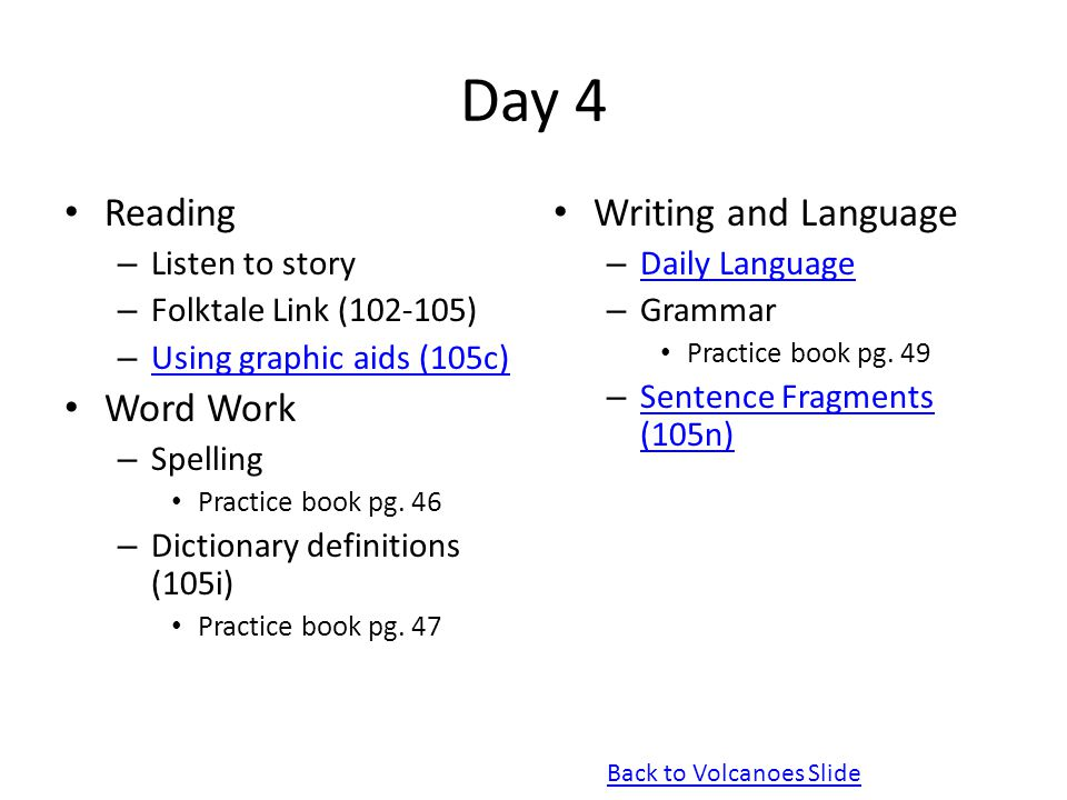 Day 4 Reading Word Work Writing and Language Listen to story