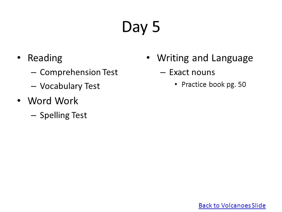 Day 5 Reading Word Work Writing and Language Comprehension Test