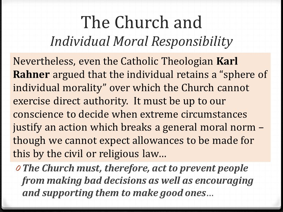 The Church and Individual Moral Responsibility