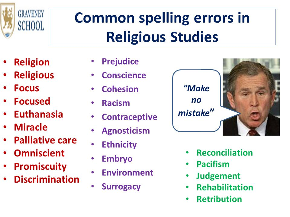 Common spelling errors in Religious Studies