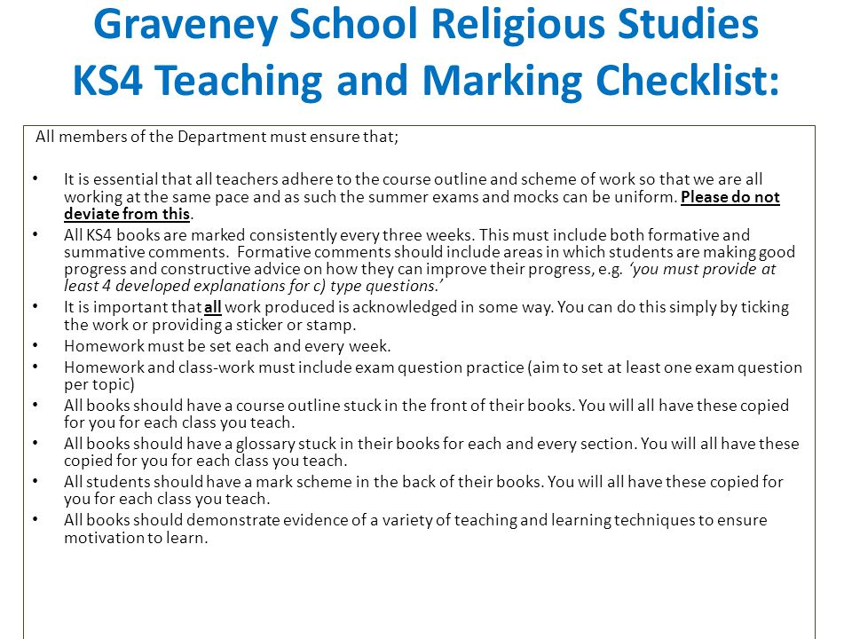 Graveney School Religious Studies KS4 Teaching and Marking Checklist: