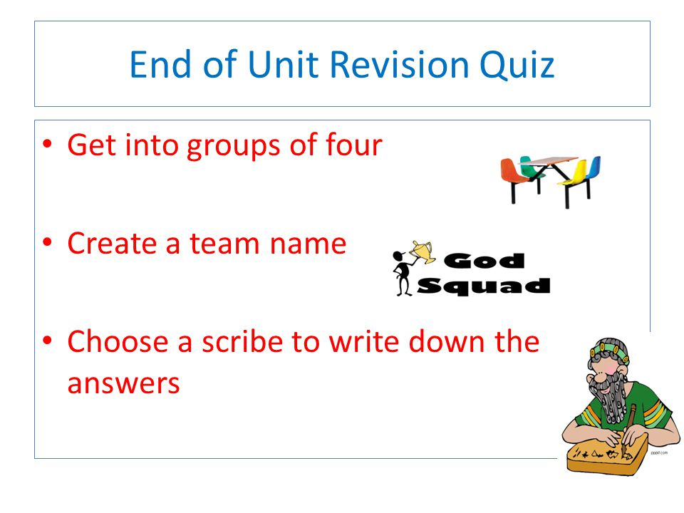 End of Unit Revision Quiz
