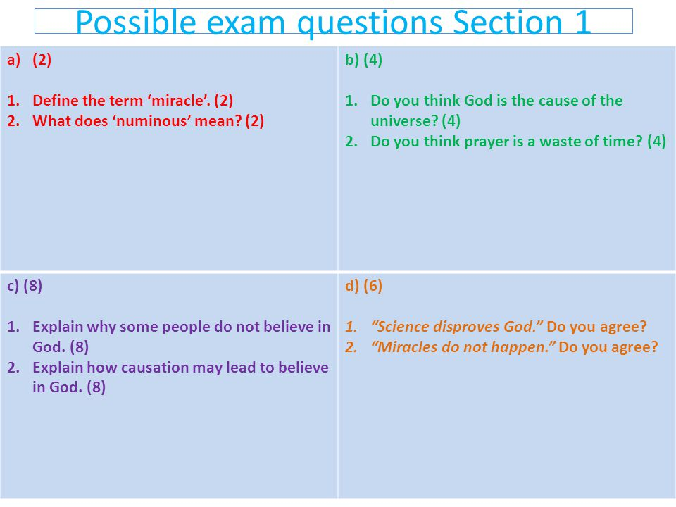 Possible exam questions Section 1