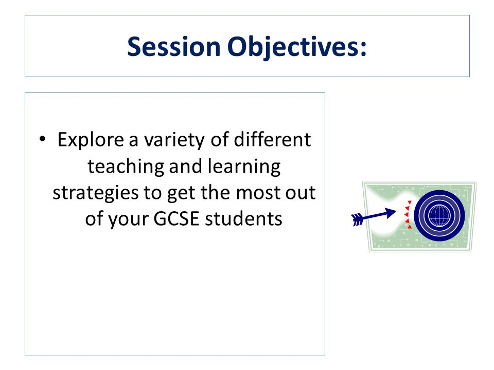 Session Objectives: Explore a variety of different teaching and learning strategies to get the most out of your GCSE students.