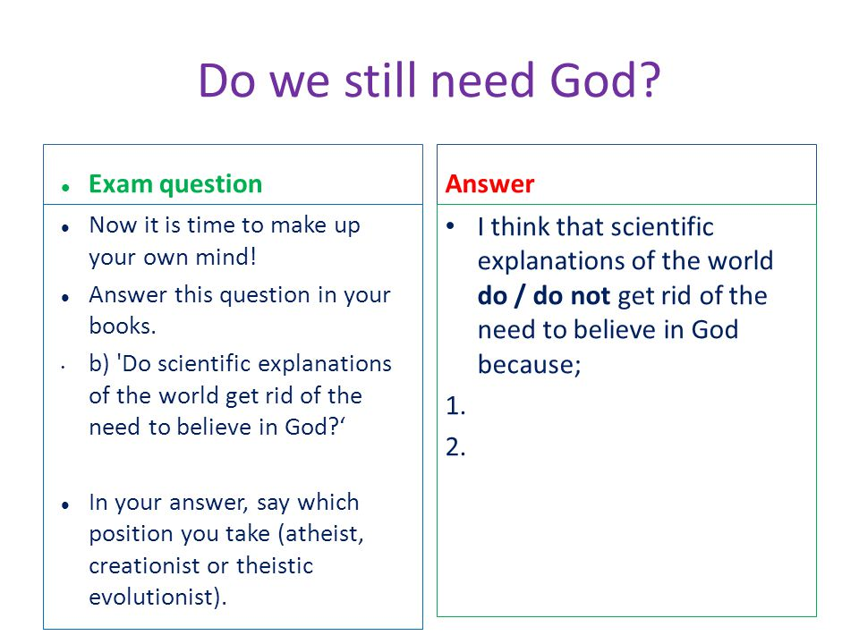 Do we still need God Exam question Answer