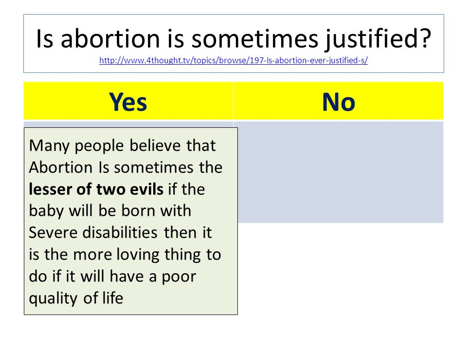 Is abortion is sometimes justified. http://www. 4thought