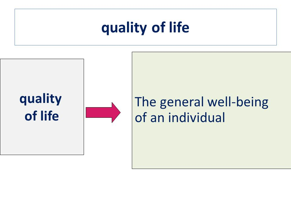 quality of life quality The general well-being of an individual