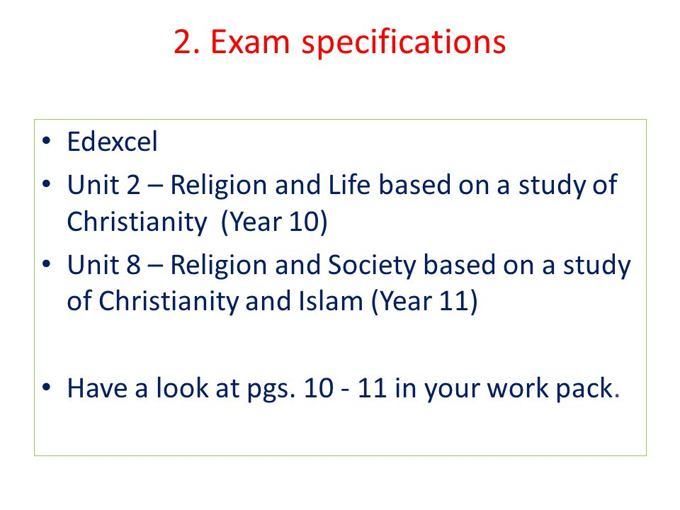 2. Exam specifications Edexcel