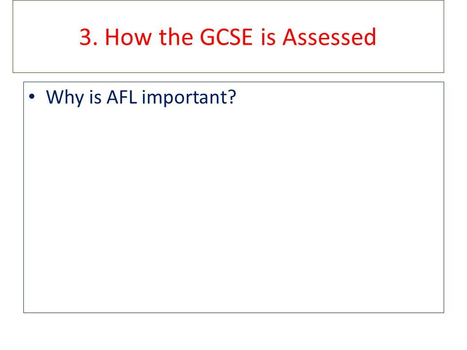 3. How the GCSE is Assessed