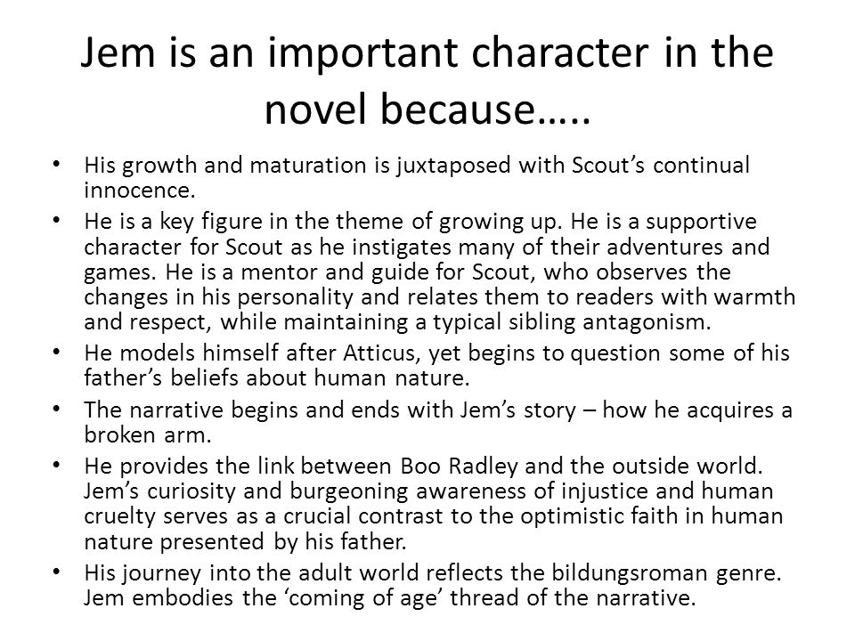 Jem is an important character in the novel because…..