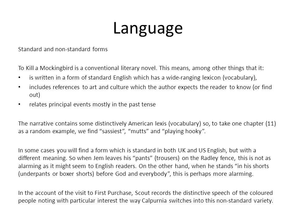 Language Standard and non-standard forms