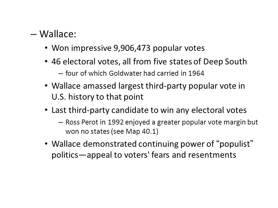 Wallace: Won impressive 9,906,473 popular votes