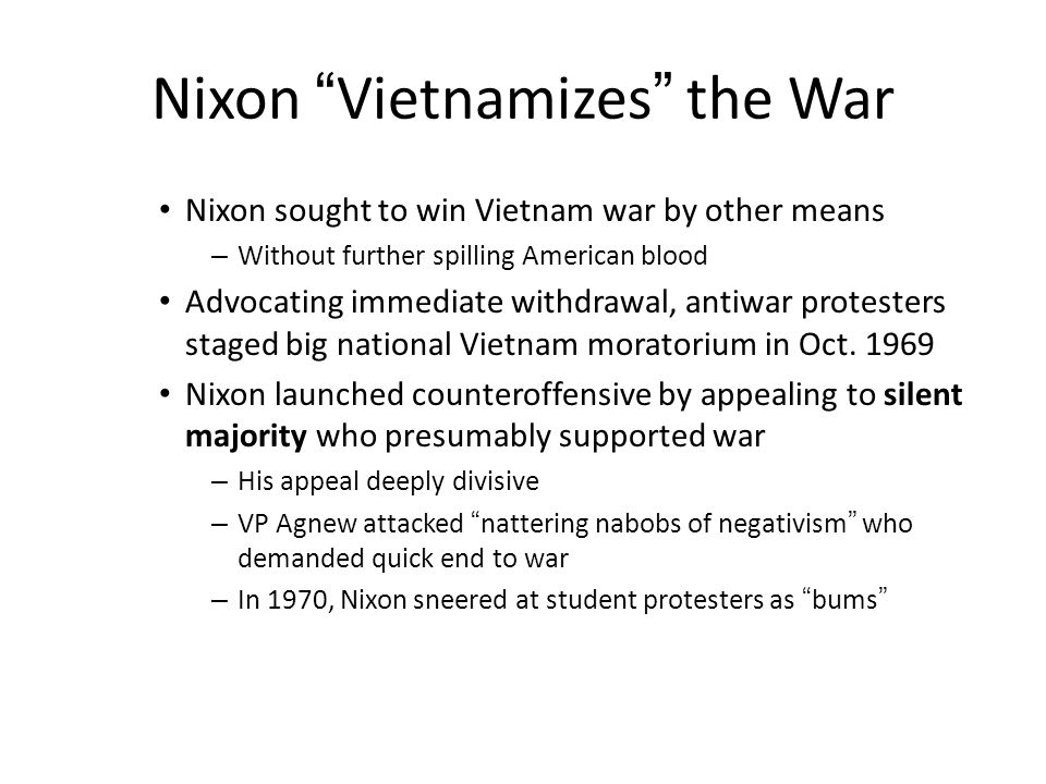 Nixon Vietnamizes the War