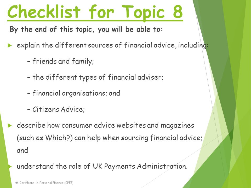 Checklist for Topic 8 By the end of this topic, you will be able to:
