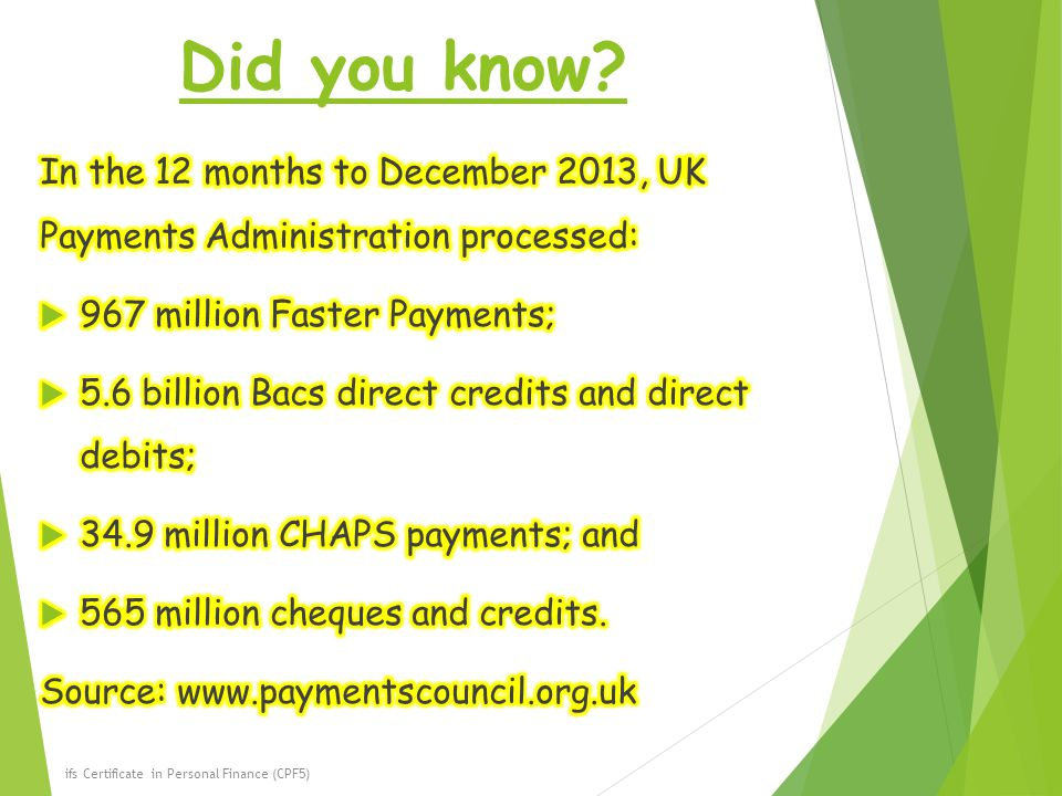 Did you know In the 12 months to December 2013, UK Payments Administration processed: 967 million Faster Payments;