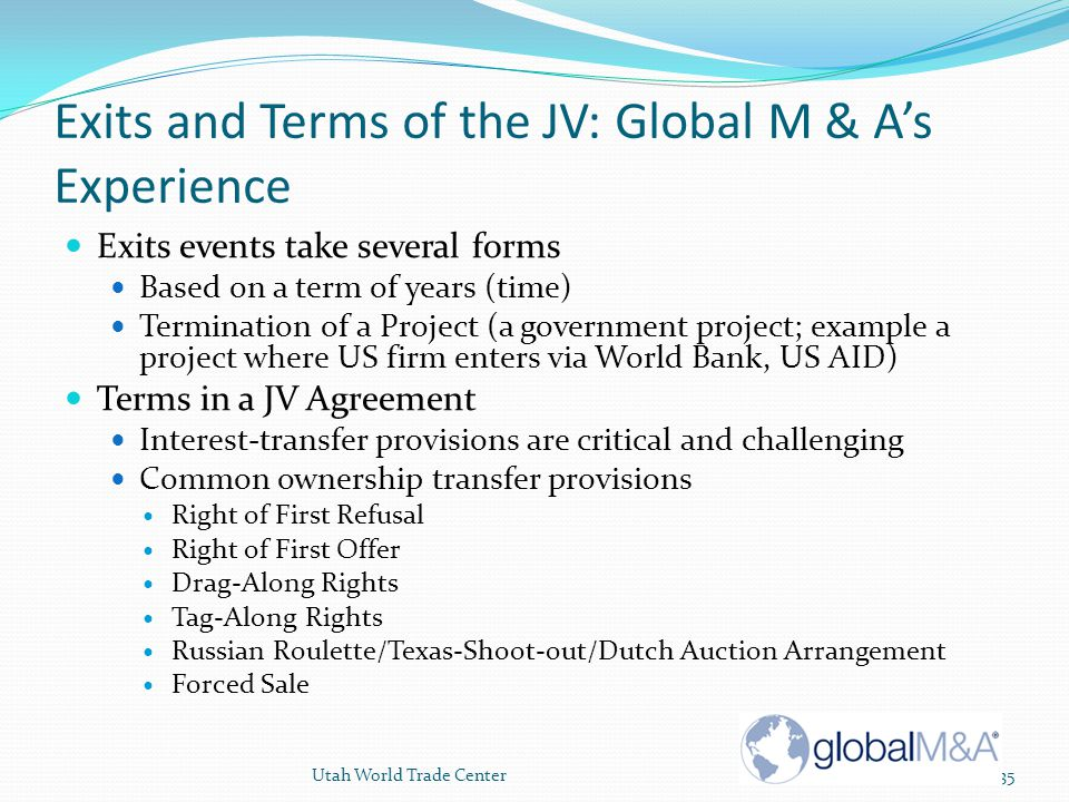 Exits and Terms of the JV: Global M & A's Experience