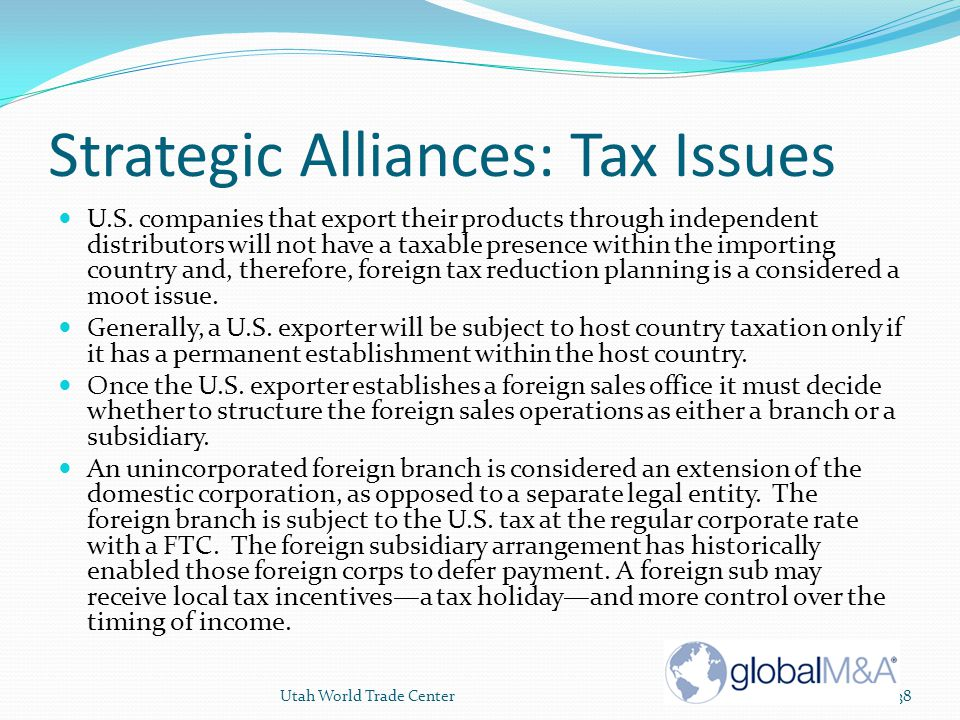 Strategic Alliances: Tax Issues