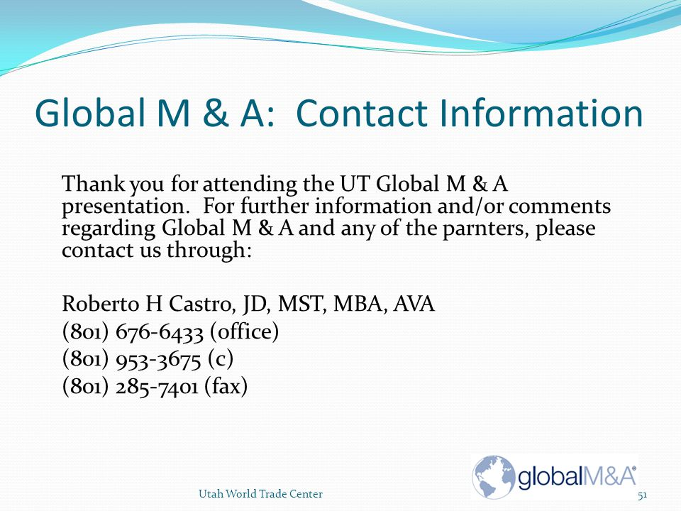 Global M & A: Contact Information