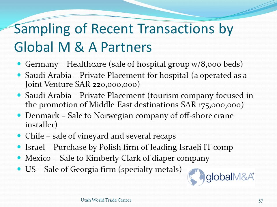 Sampling of Recent Transactions by Global M & A Partners