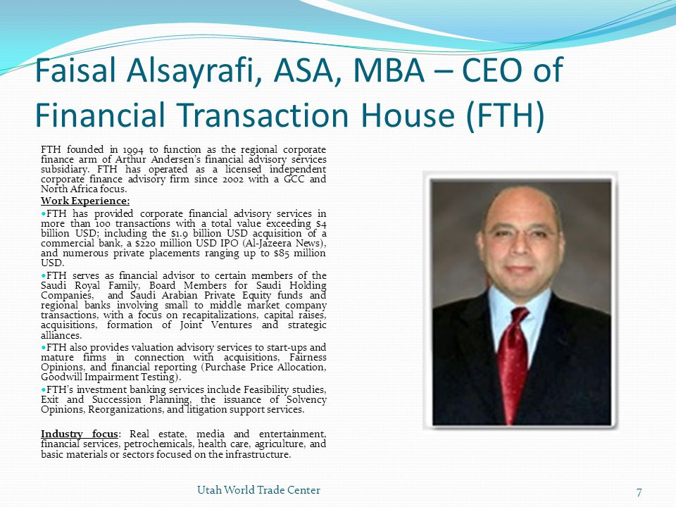 Faisal Alsayrafi, ASA, MBA – CEO of Financial Transaction House (FTH)