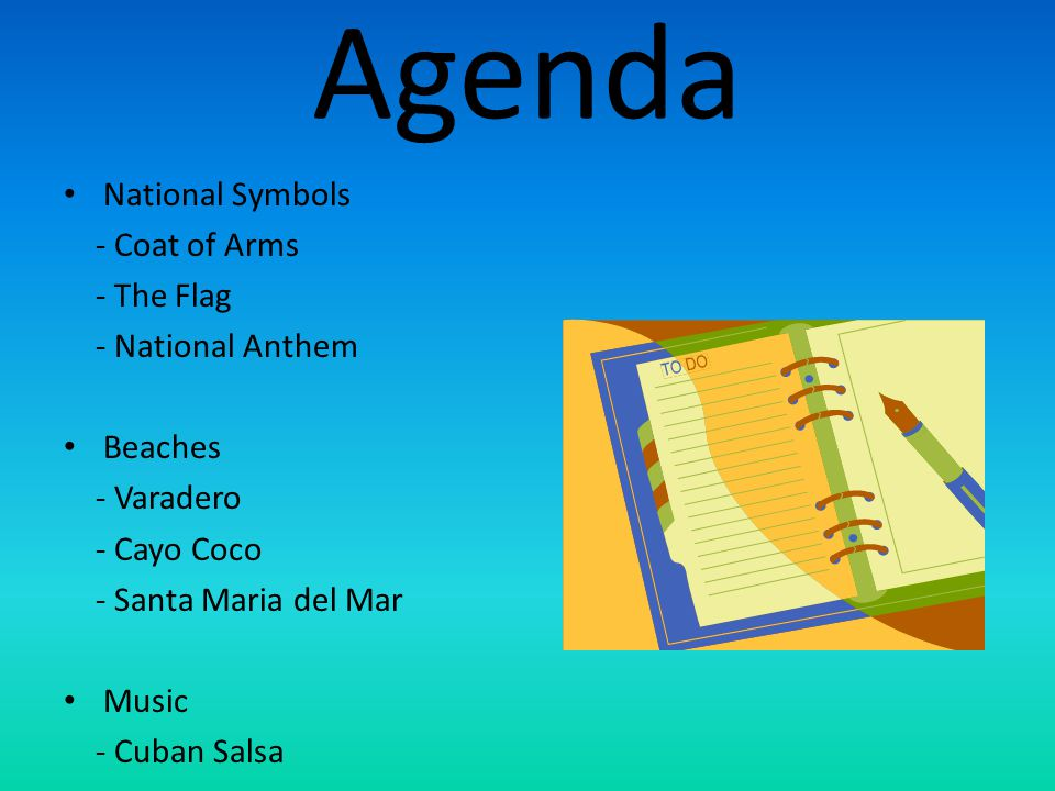 Agenda National Symbols - Coat of Arms - The Flag - National Anthem
