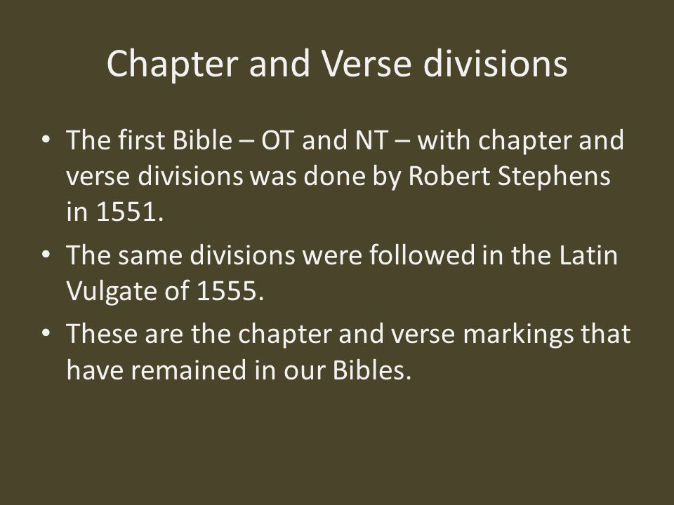 Chapter and Verse divisions