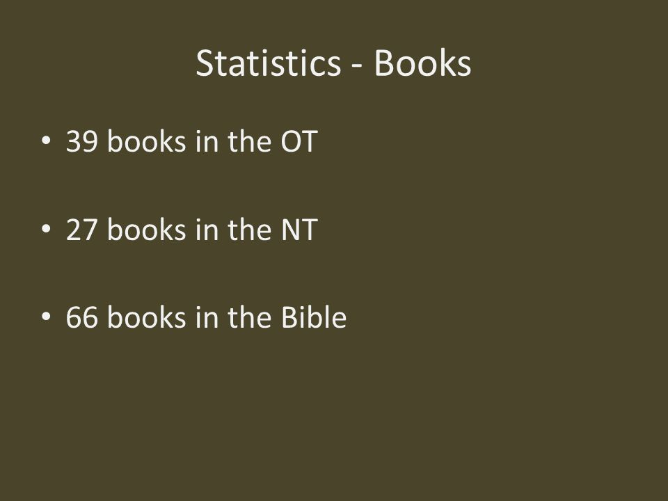 Statistics - Books 39 books in the OT 27 books in the NT