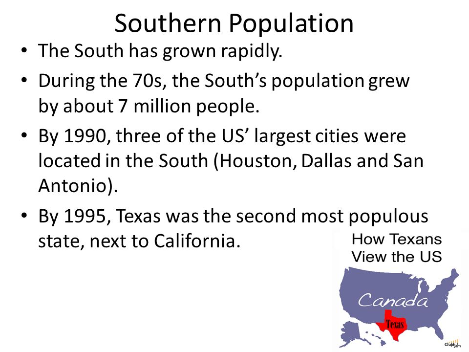 Southern Population The South has grown rapidly.