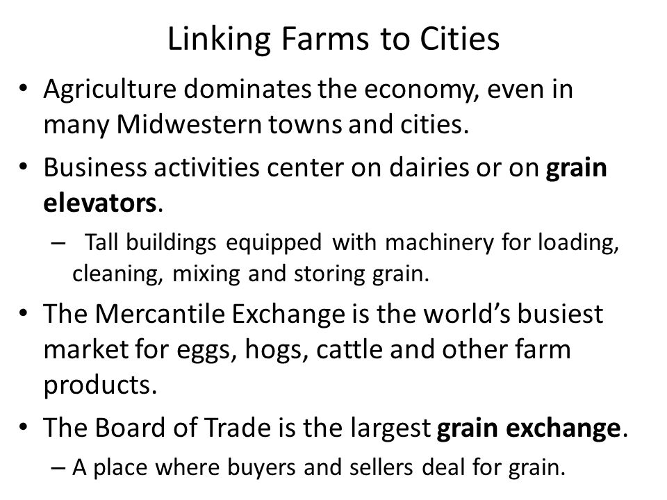 Linking Farms to Cities