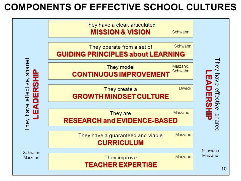 COMPONENTS OF EFFECTIVE SCHOOL CULTURES