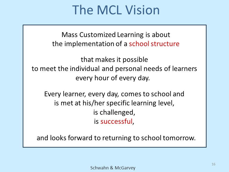 The MCL Vision Mass Customized Learning is about