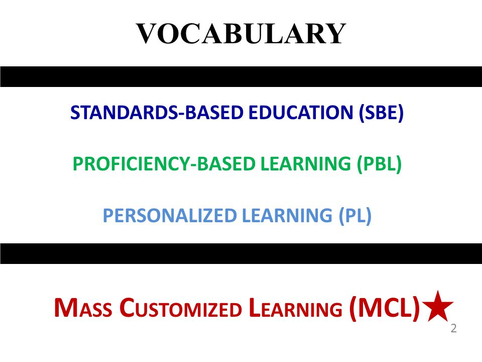 MASS CUSTOMIZED LEARNING (MCL)