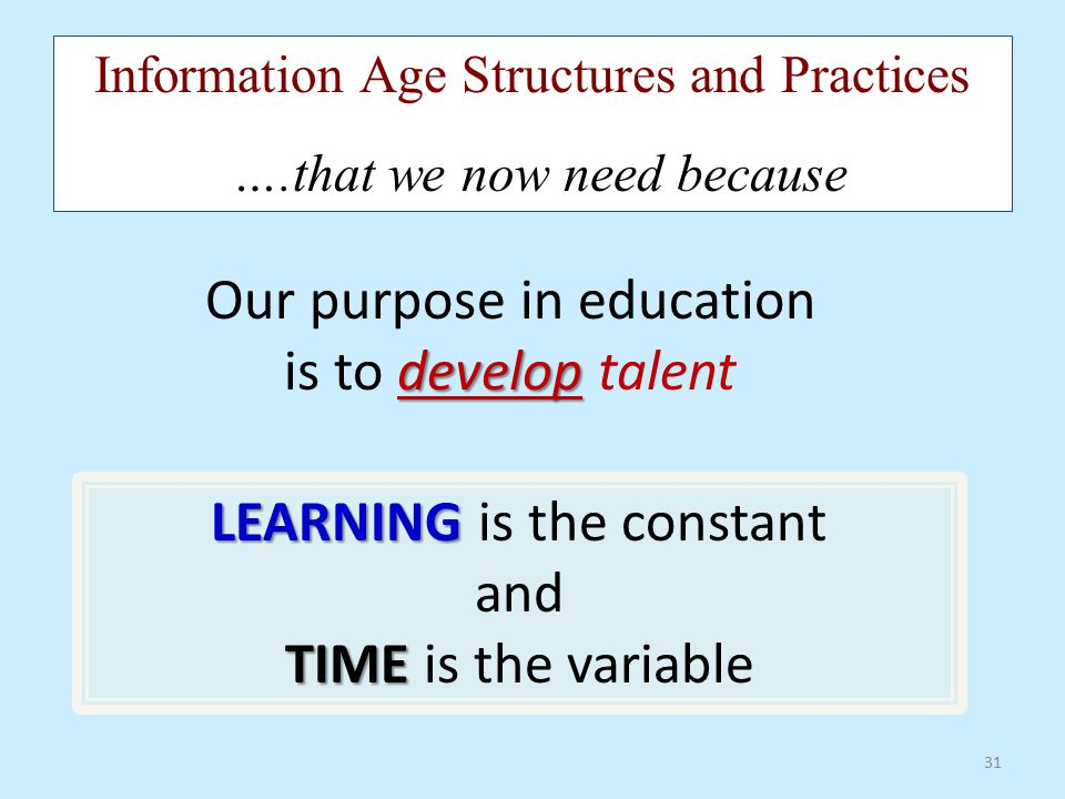 Our purpose in education is to develop talent