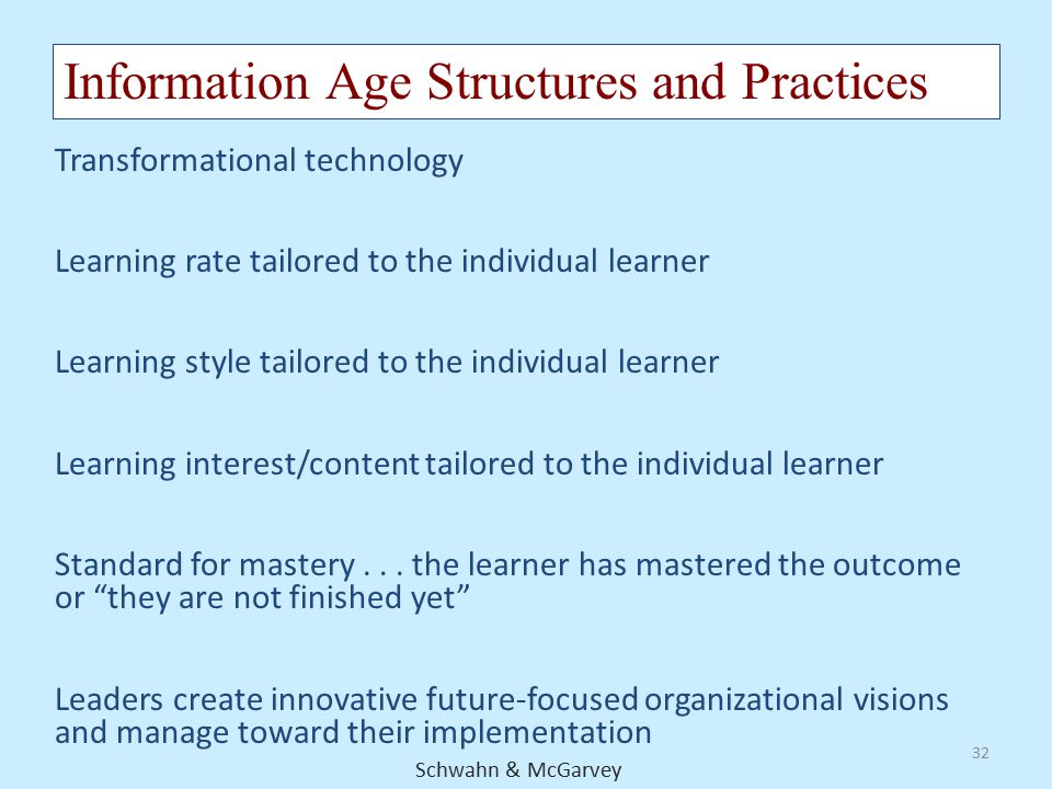 Information Age Structures and Practices