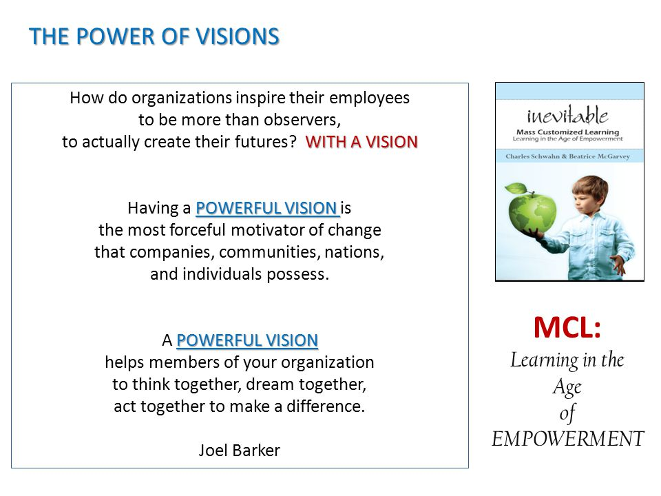 MCL: THE POWER OF VISIONS Learning in the Age of EMPOWERMENT