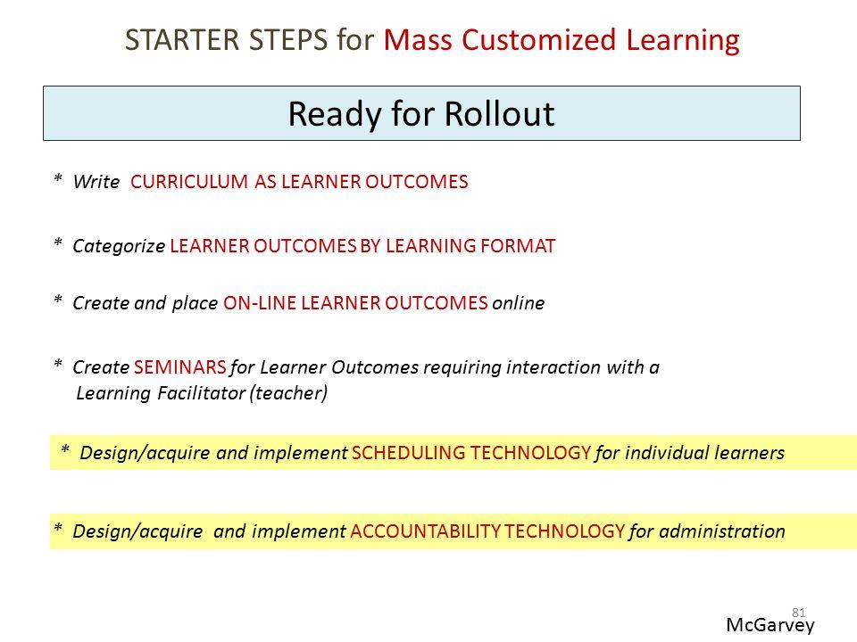STARTER STEPS for Mass Customized Learning