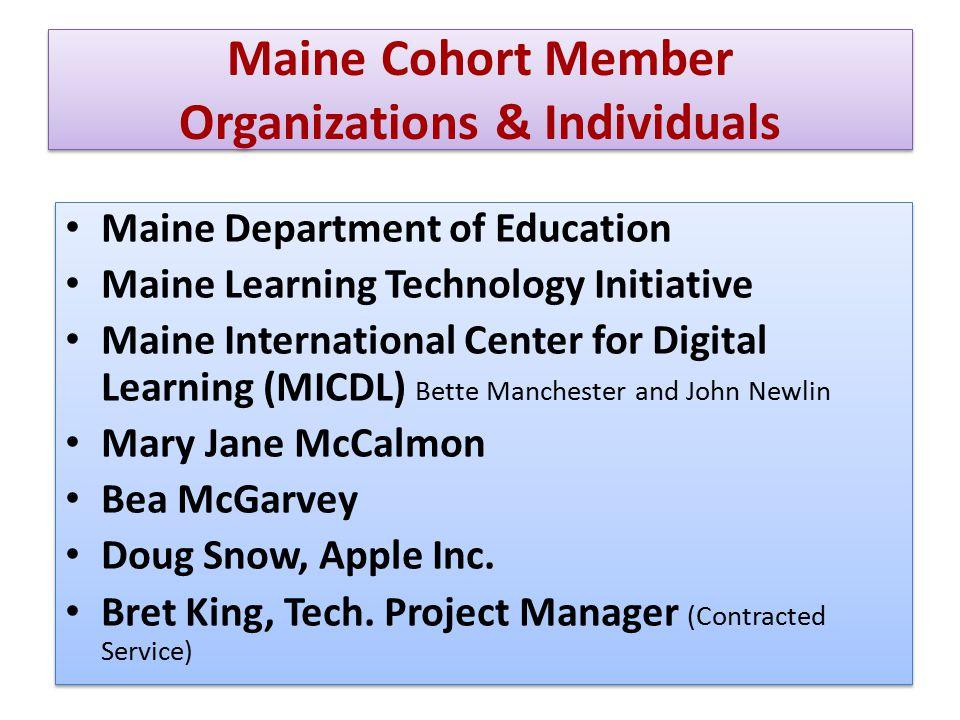 Maine Cohort Member Organizations & Individuals