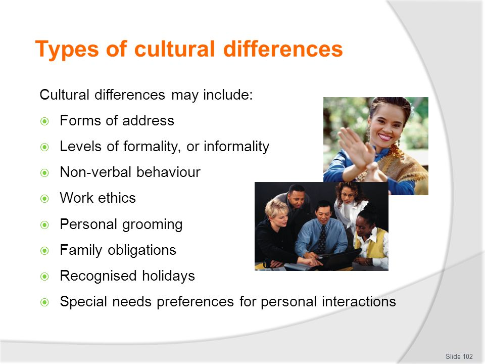 Types of cultural differences