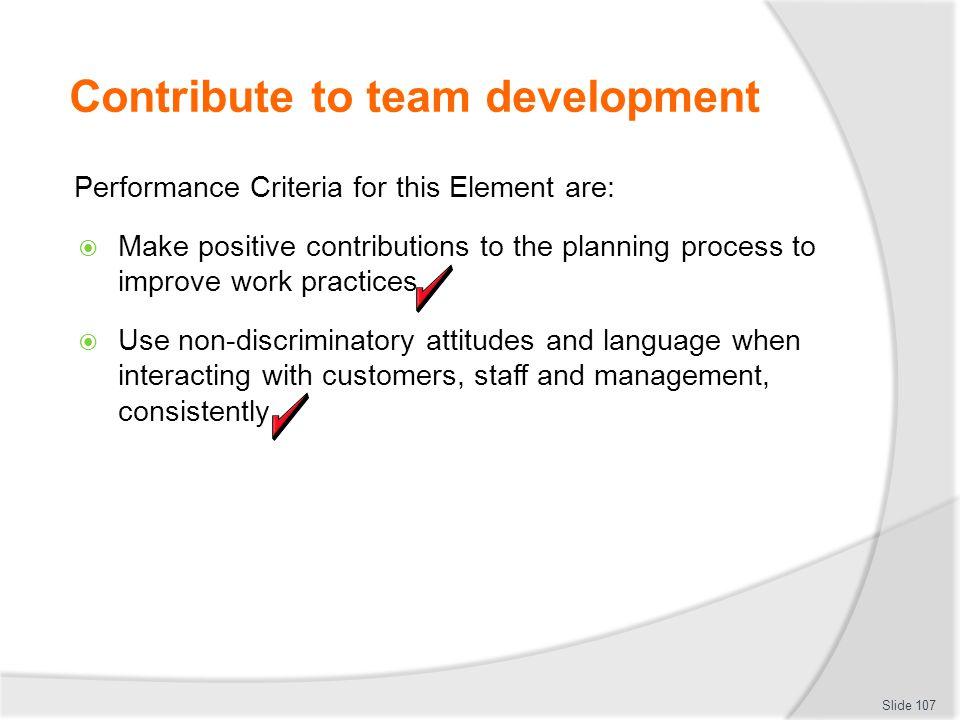 Contribute to team development