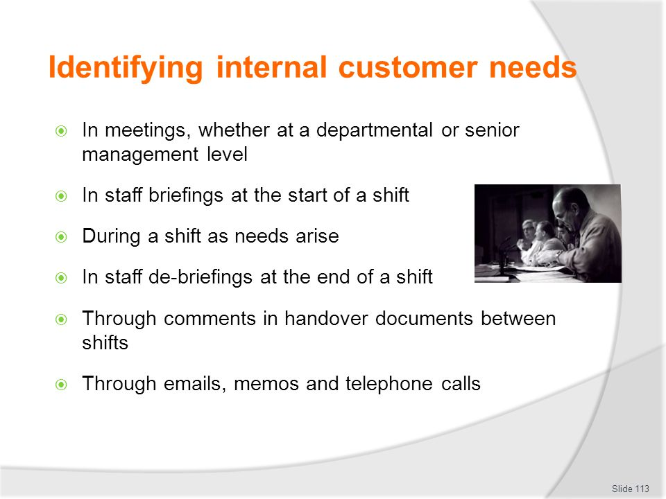Identifying internal customer needs