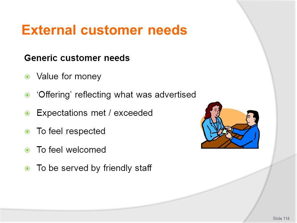 External customer needs